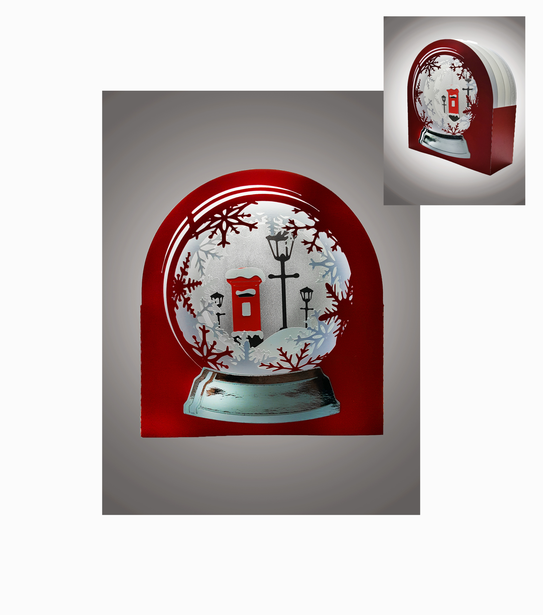 3D Snow Globe Classic Red Letter Box greetings card example image 1
