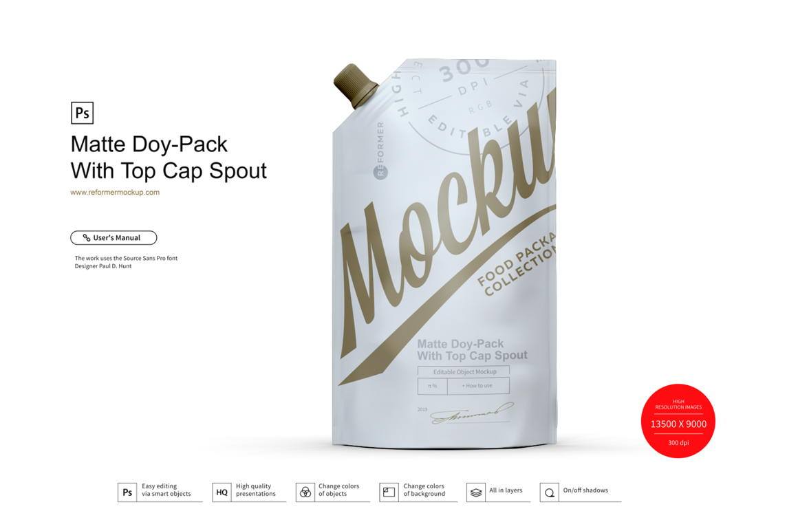 Matte Doy-Pack With Top Cap Spout example image 1