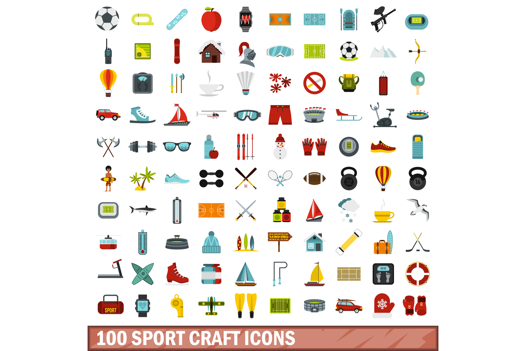 100 sport craft icons set, flat style example image 1
