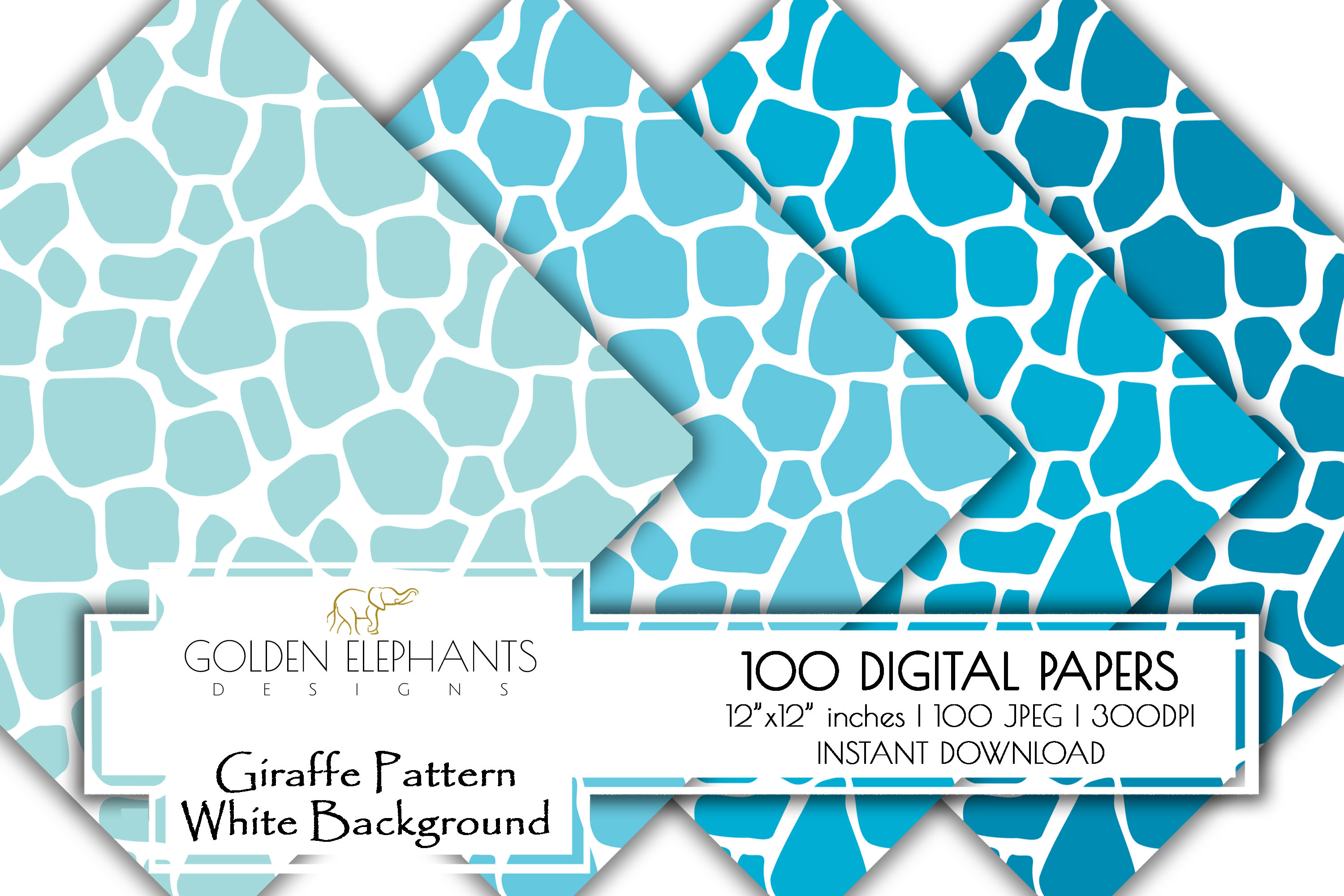 100 Giraffe Pattern w/ White Background Digital Paper example image 7