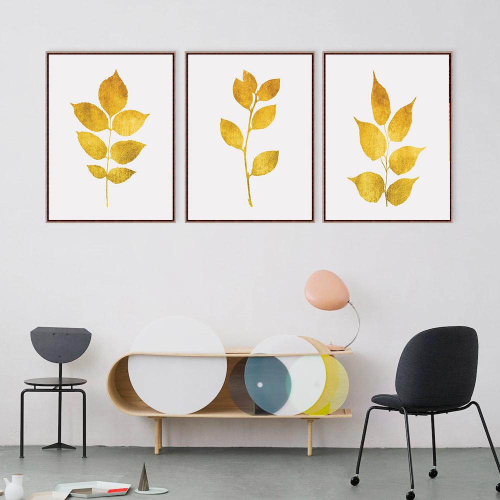 Gold Leaf Prints, Gold Print Set, Gold Botanical Prints example image 2
