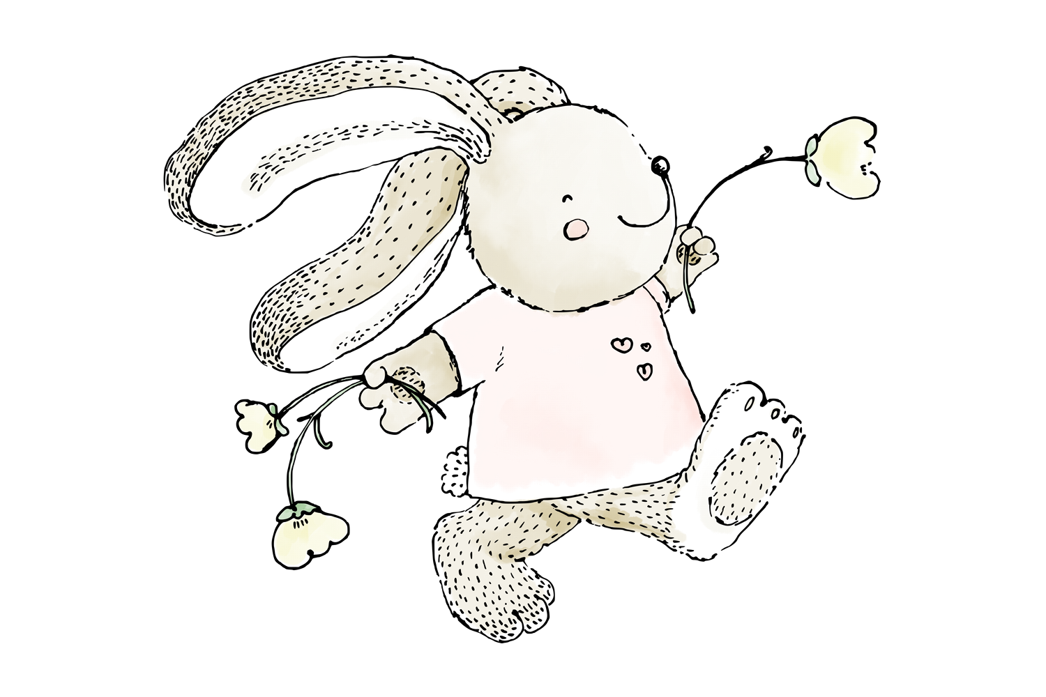 Cute 'Rabbit Skipping with Flowers'   Clip Art Illustration example image 3