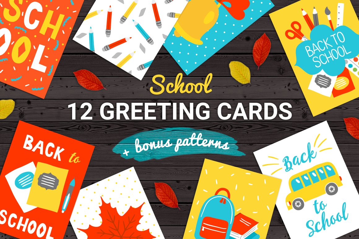 12 School Cards & Bonus Patterns example image 1
