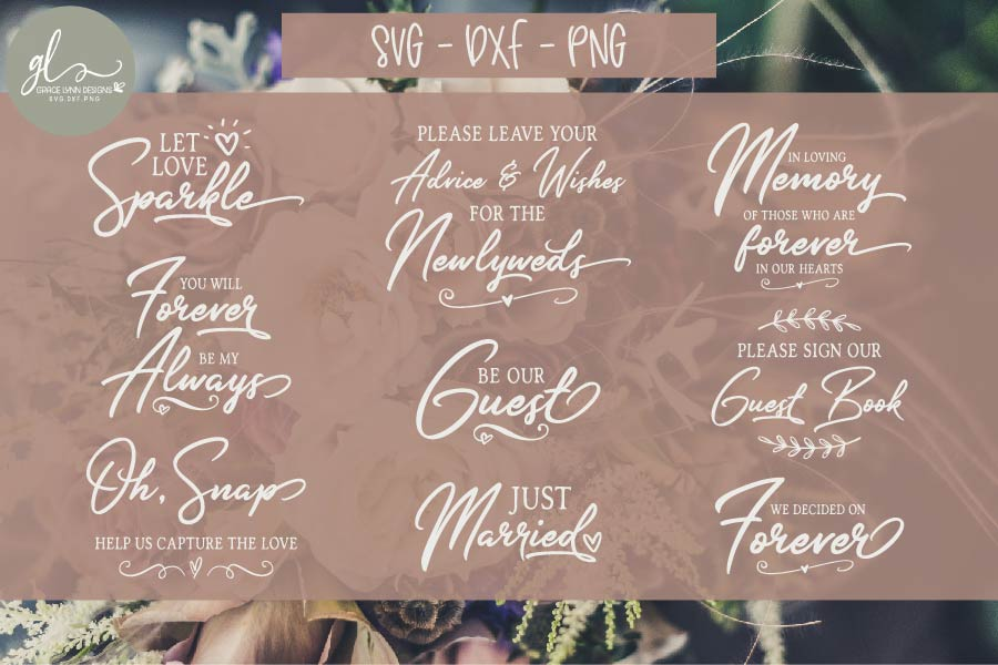 Huge Wedding Sign SVG Bundle - 25 Designs - SVG, DXF & PNG example image 1