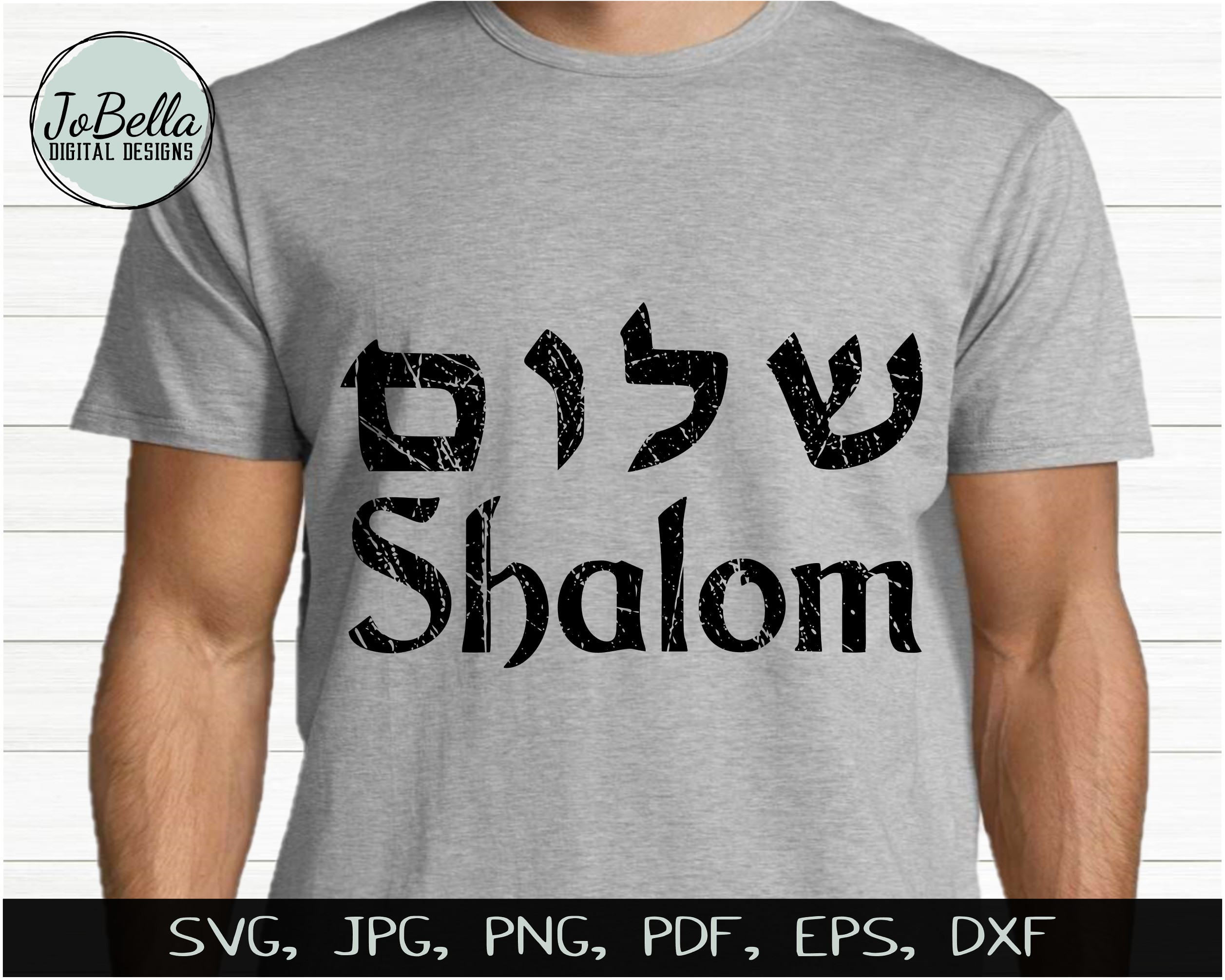 Distressed Shalom SVG, Printable and Sublimation PNG example image 2