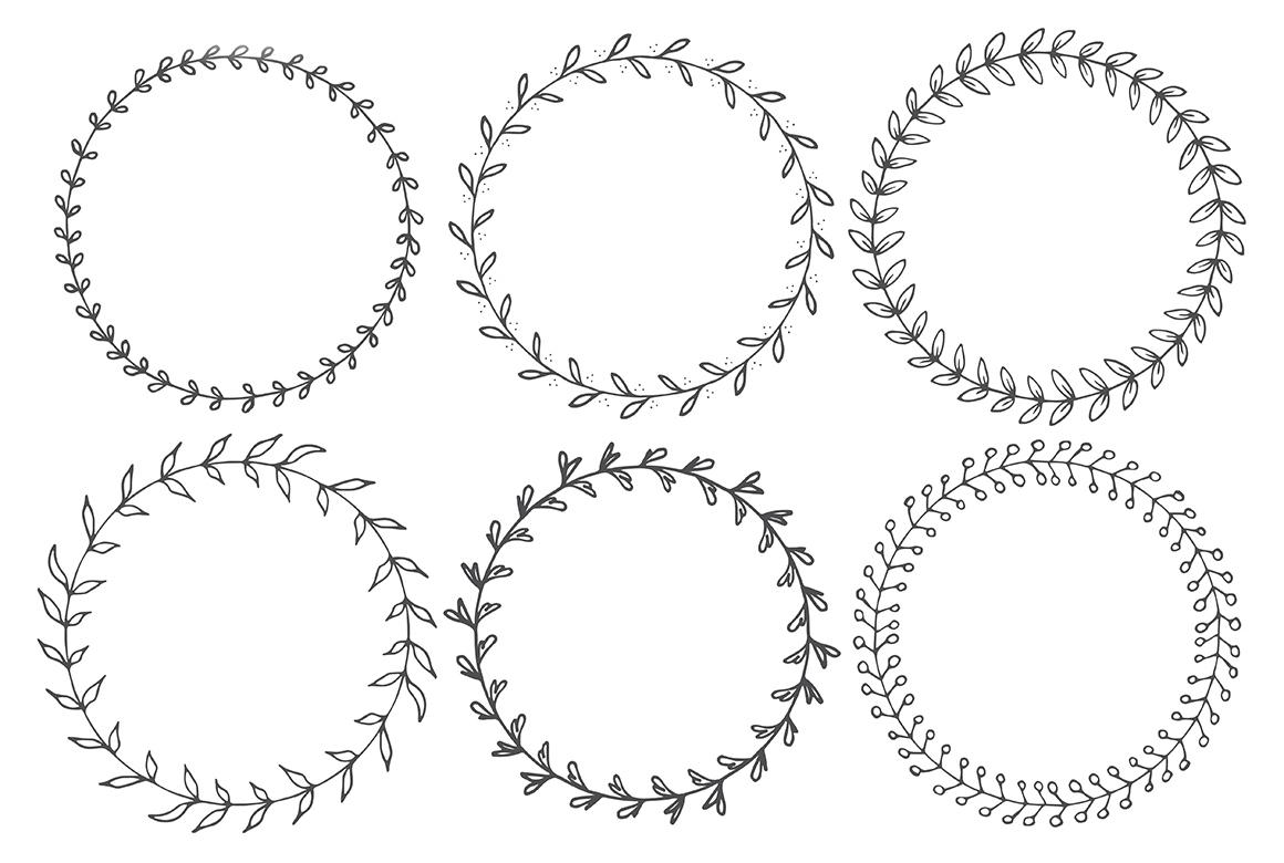 90 Hand Drawn Decorative Round Frames example image 6