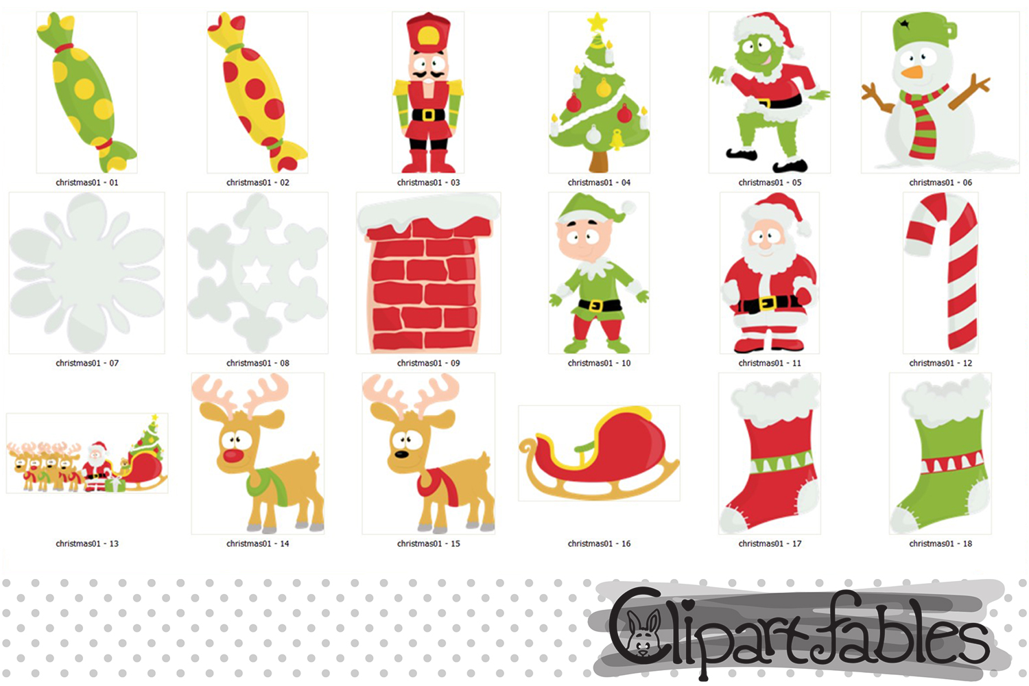 Christmas Clipart, Cute Santa and Elf art - INSTANT download example image 2