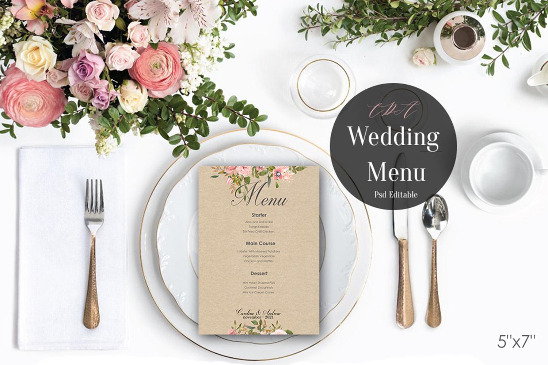 Vintage Wedding Menu Template   PSD Instant Download example image 2