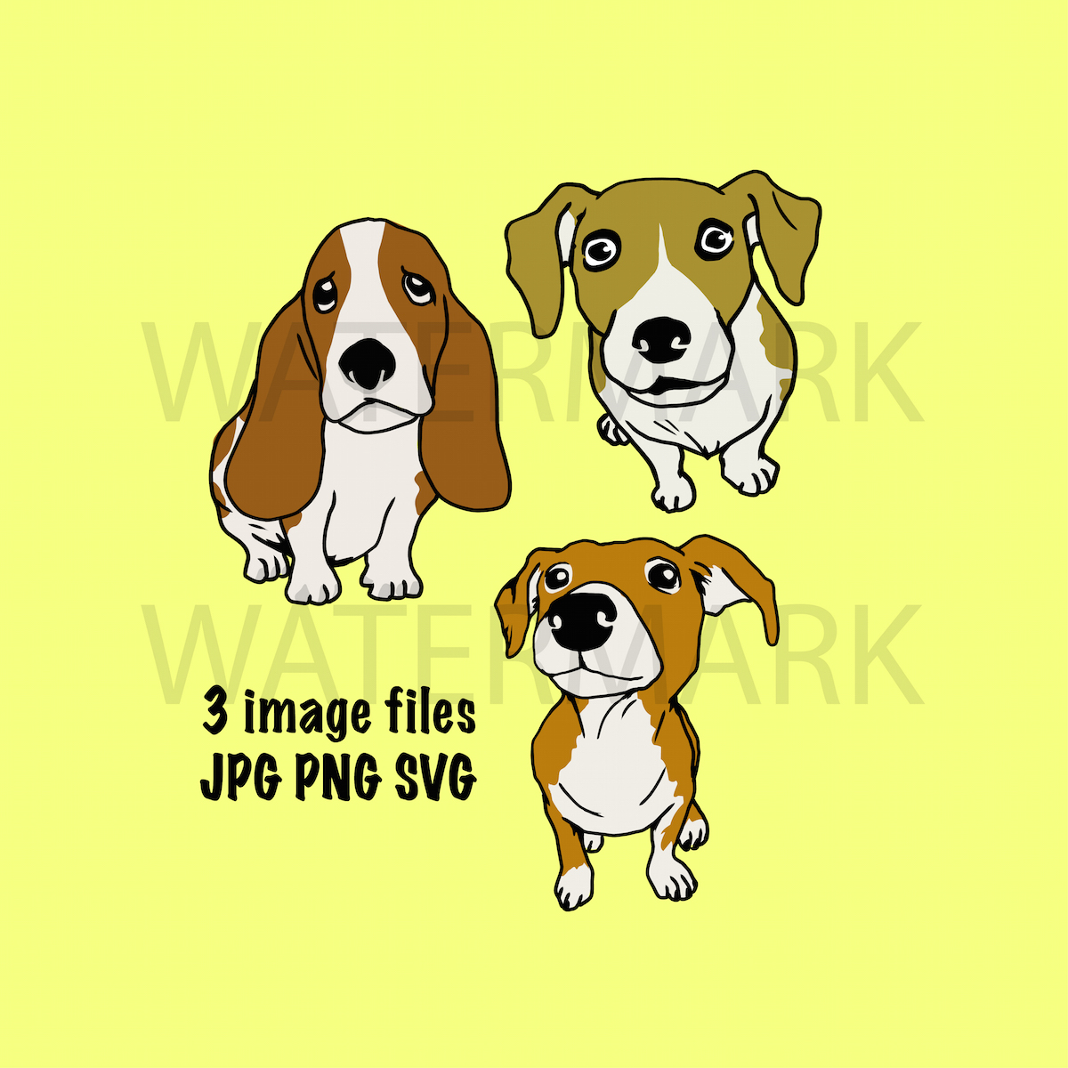 Bundle Three Dogs - Separated SVG/JPG/PNG - Hand Drawing example image 2
