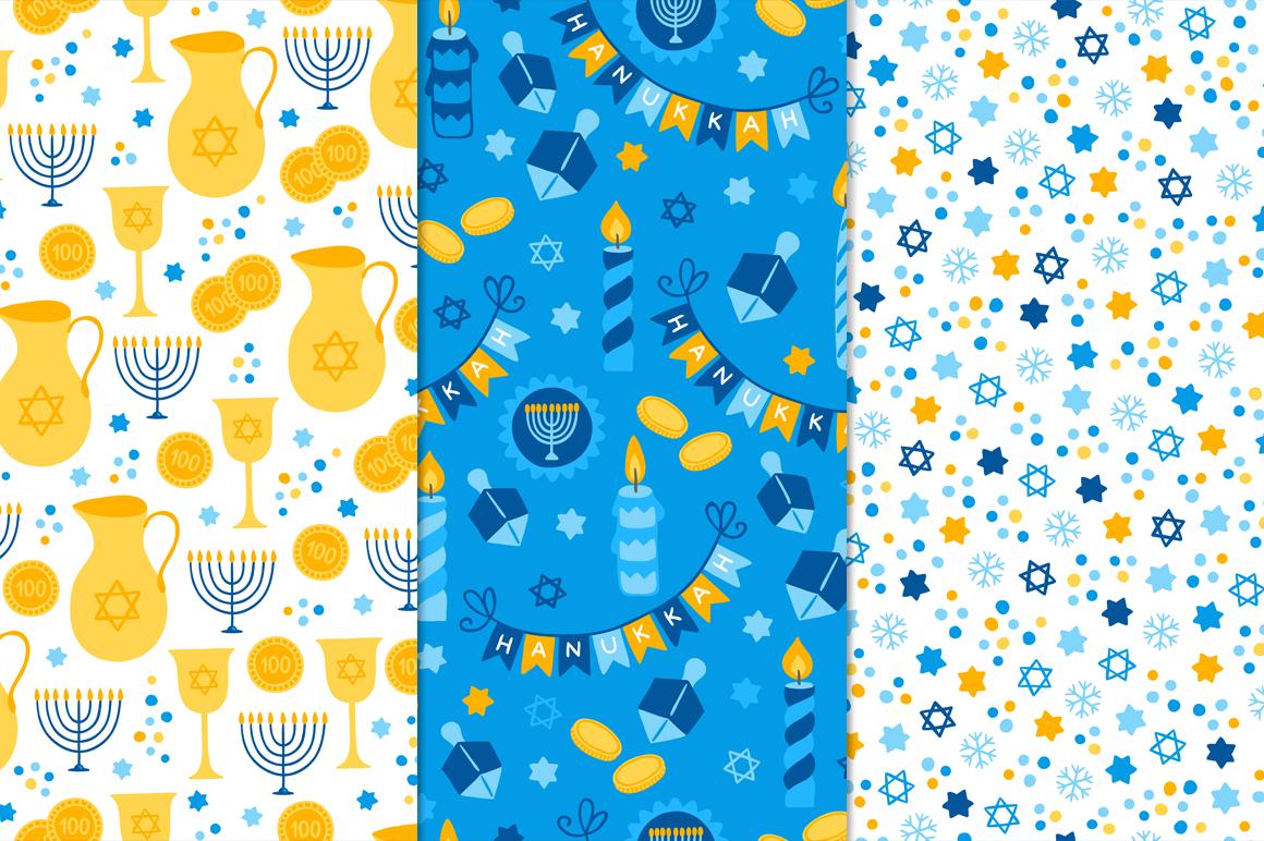 12 Hanukkah Seamless Patterns example image 3