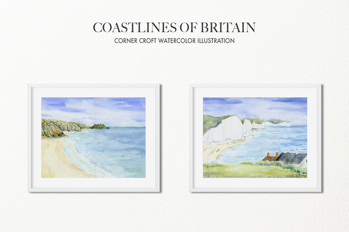 Watercolor Coast of Britain For Instant Download example image 6
