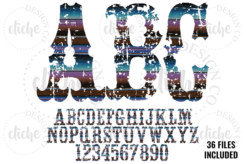 Grunge Serape Alphabet Sublimation Set example image 1