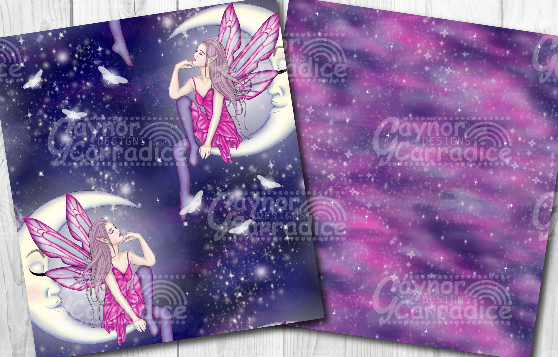Moonlight Fairy Seamless Pattern Collection example image 6