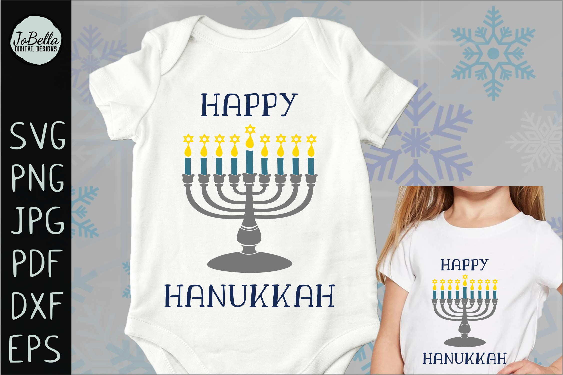 Menorah and Happy Hanukkah SVG, Printable and PNG example image 3