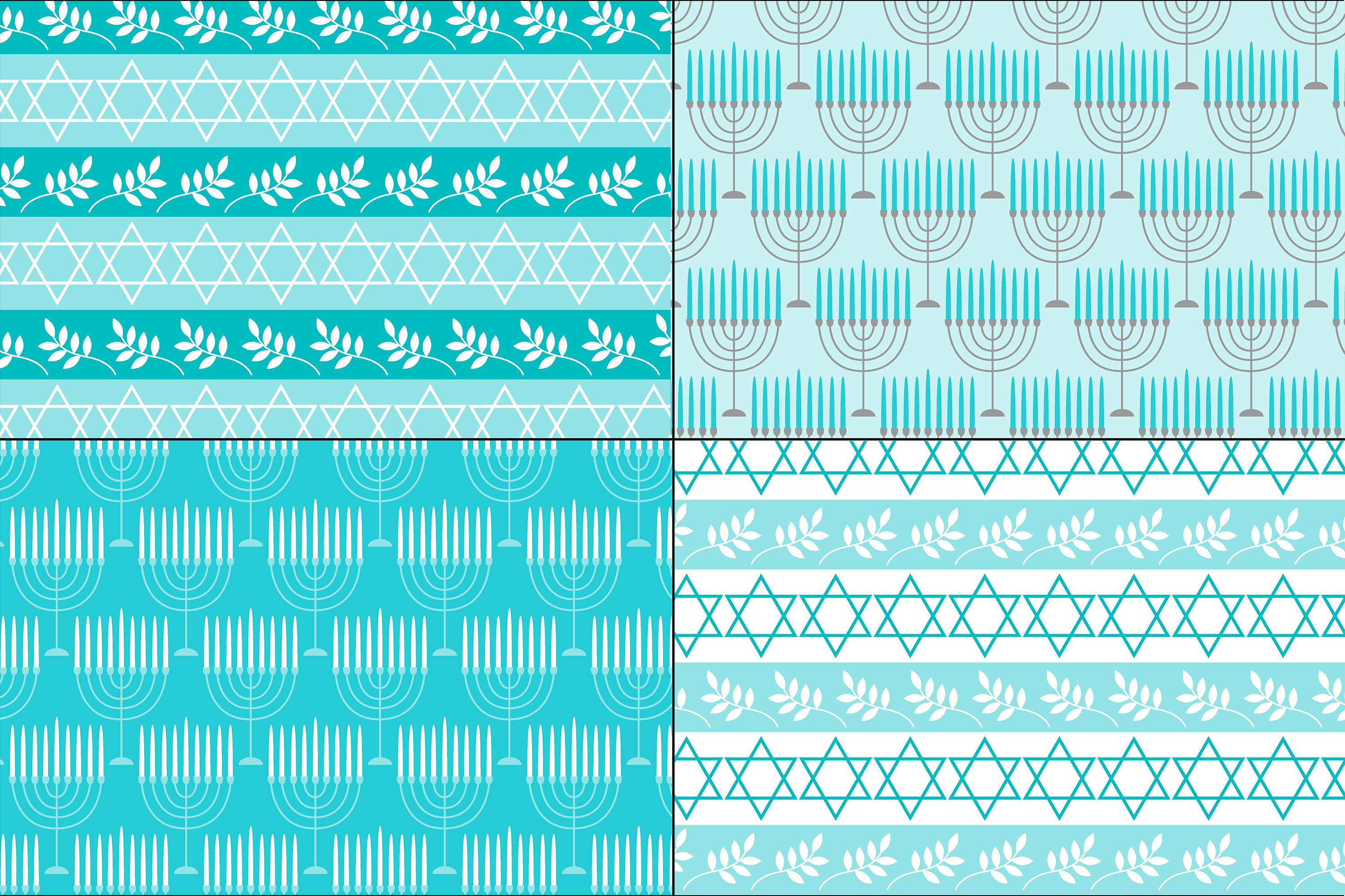 Blue Gray Hanukkah Patterns example image 4