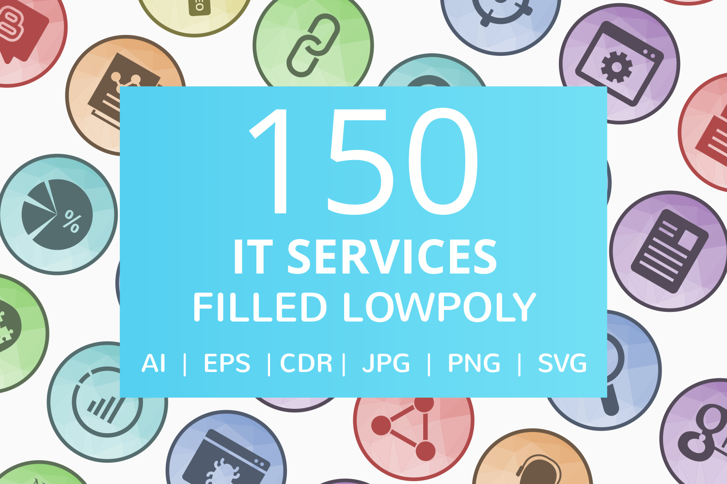 150 IT Services Filled Low Poly Icons example image 1