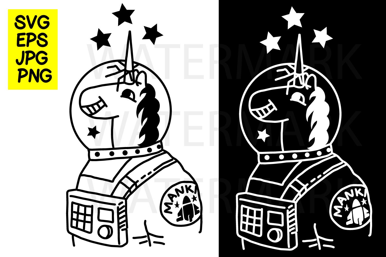 Unicorn Astronaut- SVG-EPS-JPG-PNG example image 1