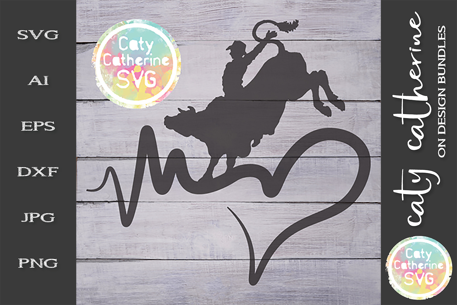Heartbeat Love Heart Rodeo Bull Riding SVG Cut File example image 1