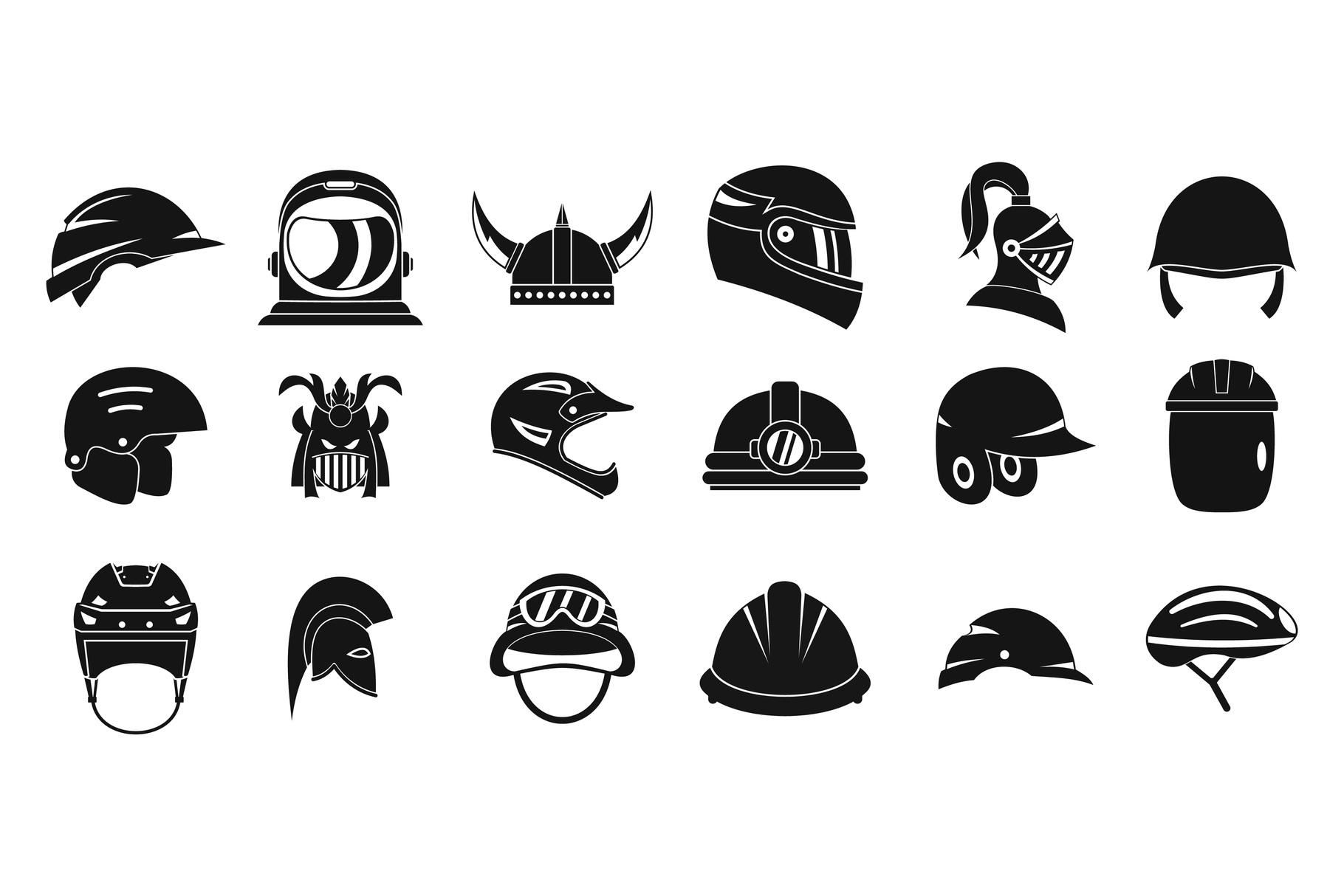 Helmet icon set, simple style example image 1