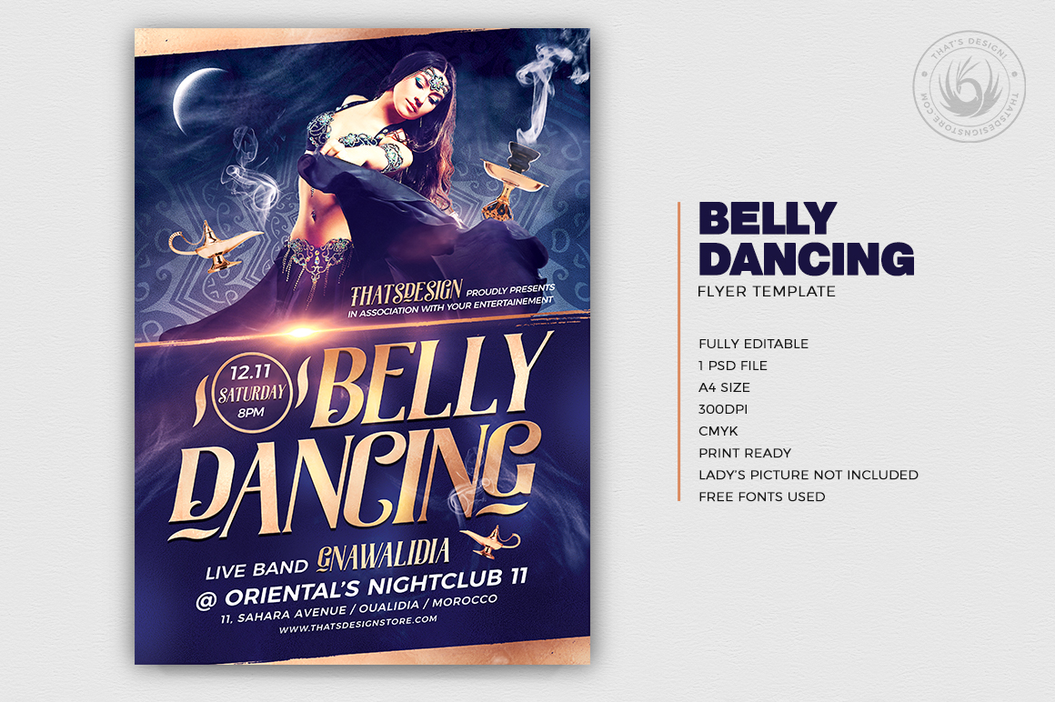Belly Dancing Flyer Template V2 example image 2