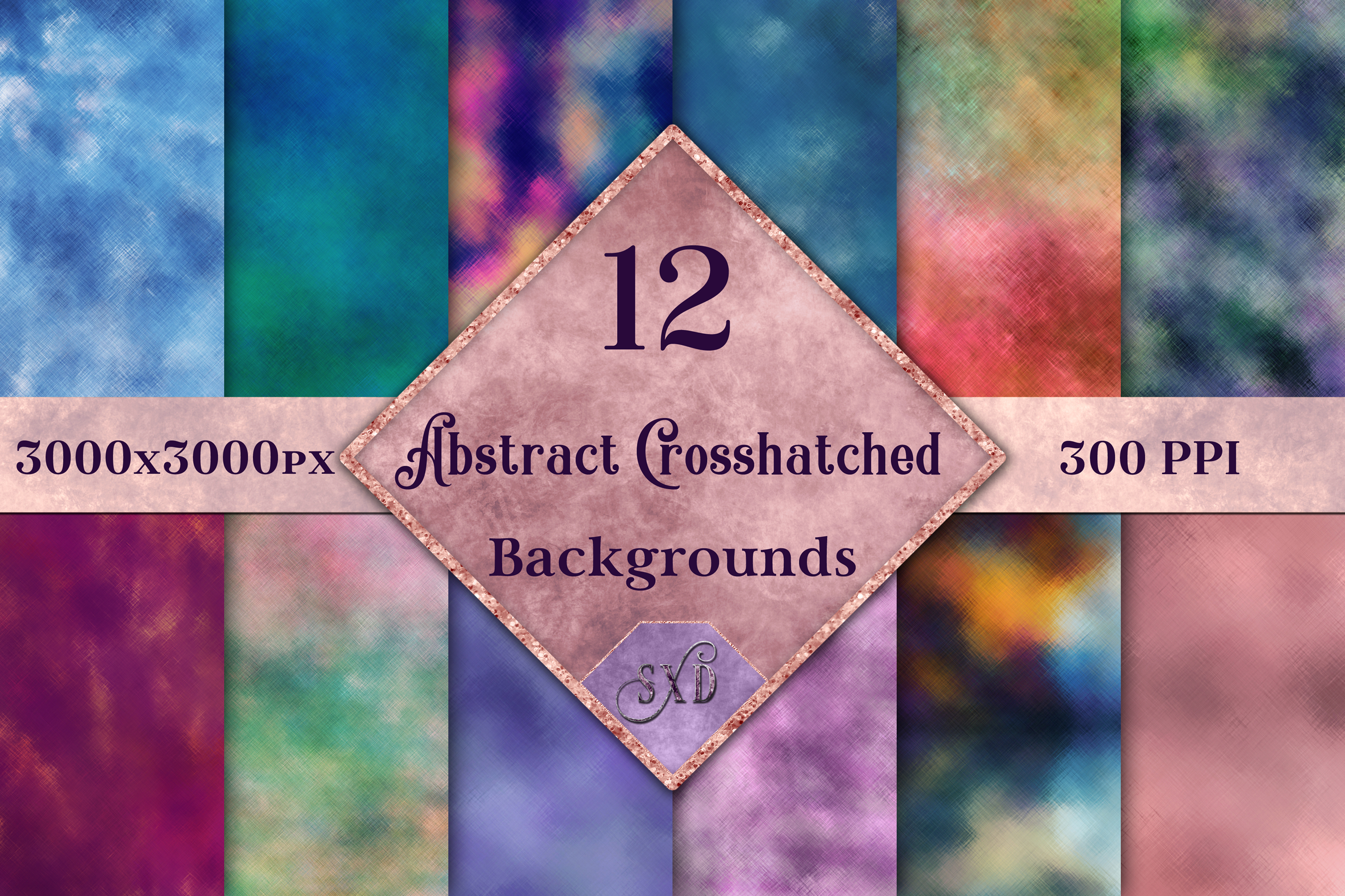 Abstract Crosshatched Backgrounds - 12 Image Textures Set example image 1