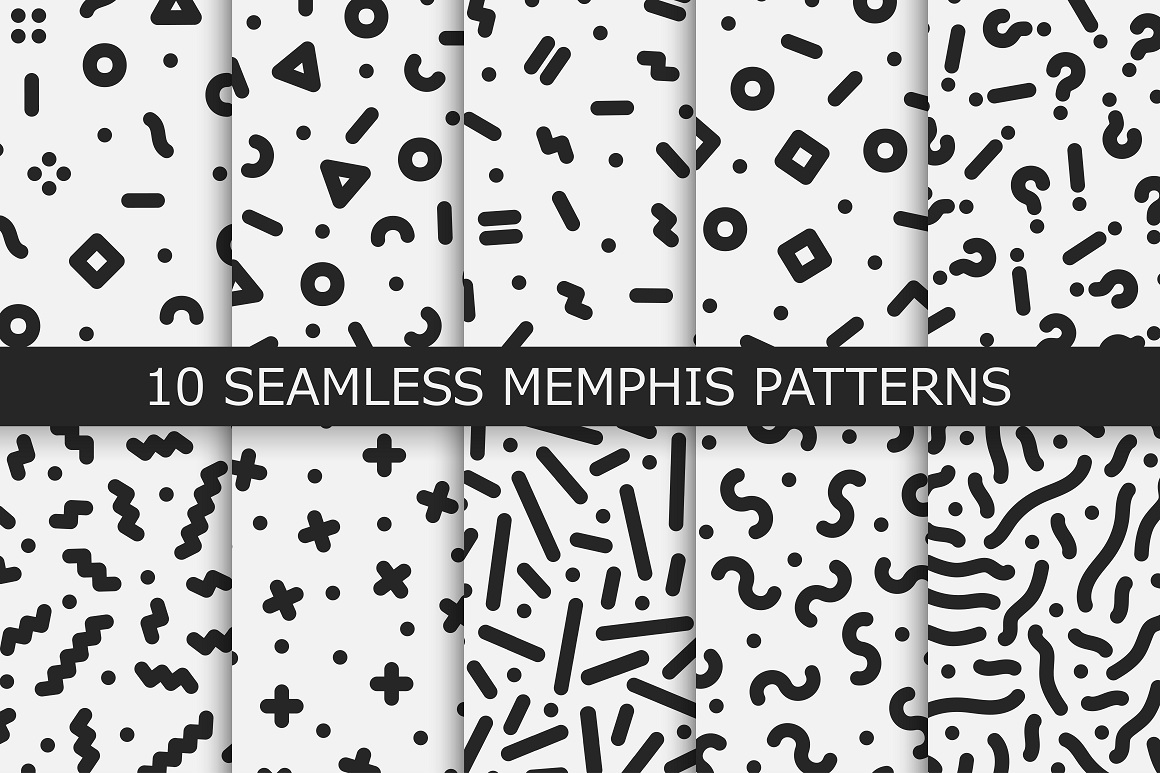 Trendy memphis seamless patterns example image 1