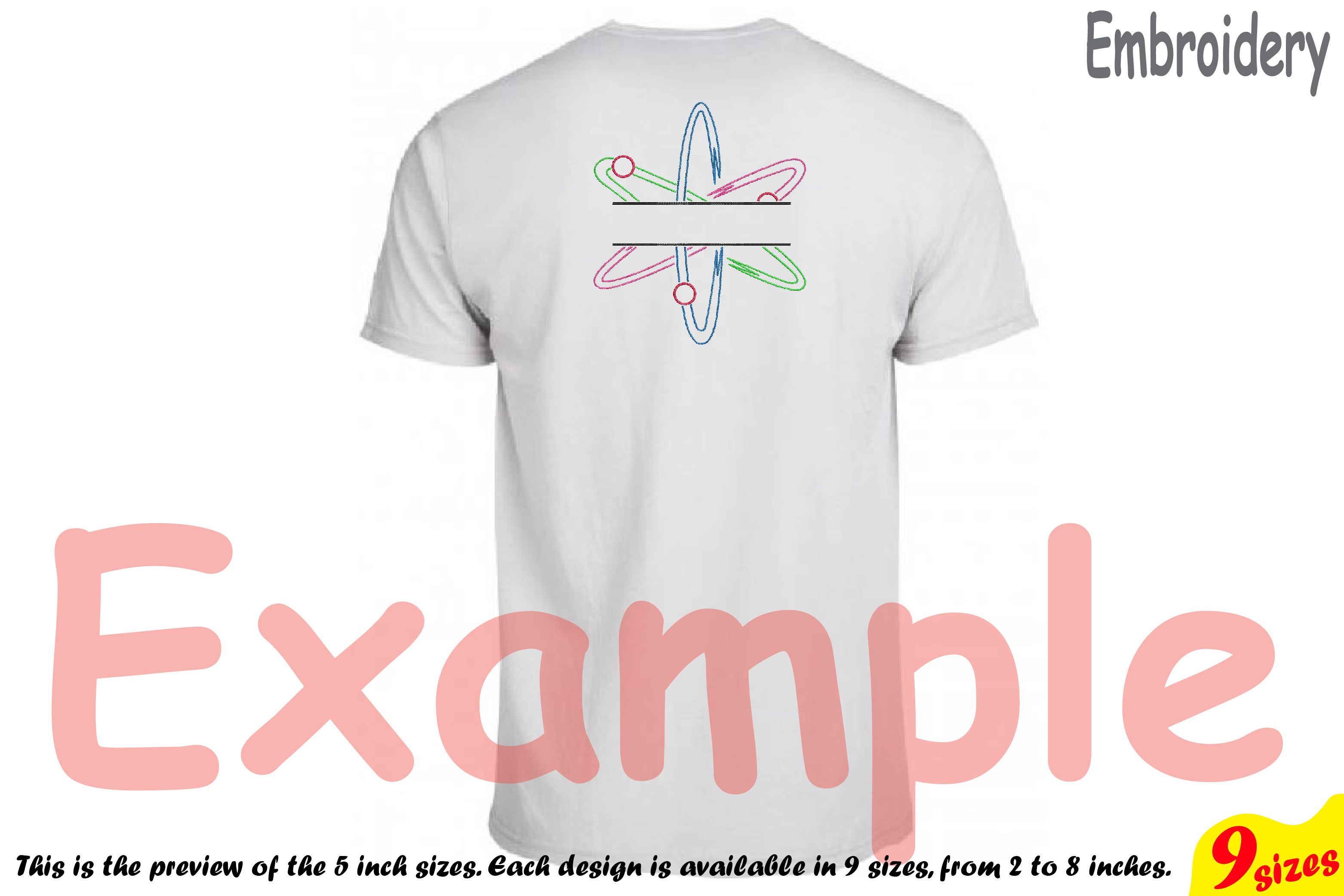 Split Atom Science Designs for Embroidery Machine Instant Download Commercial Use digital file hoop sign Nuclear Fission outline 192b example image 2