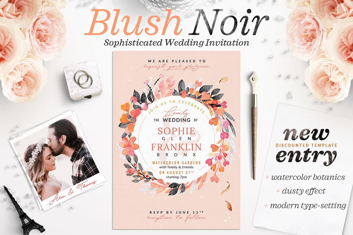 Blush Noir Wedding Invite V example image 1