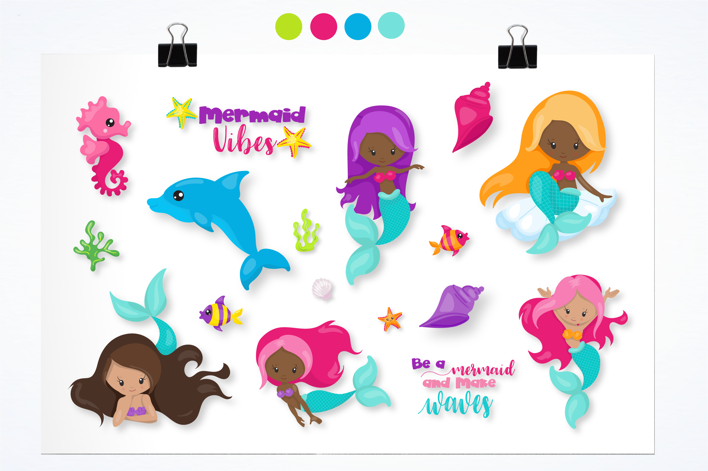 mermaid vibes graphics and illustrations example image 2