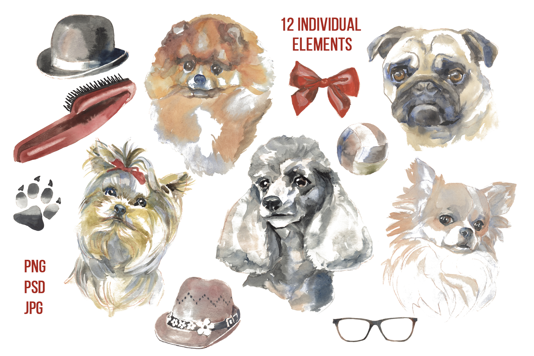 Cute dogs watercolor set example image 3