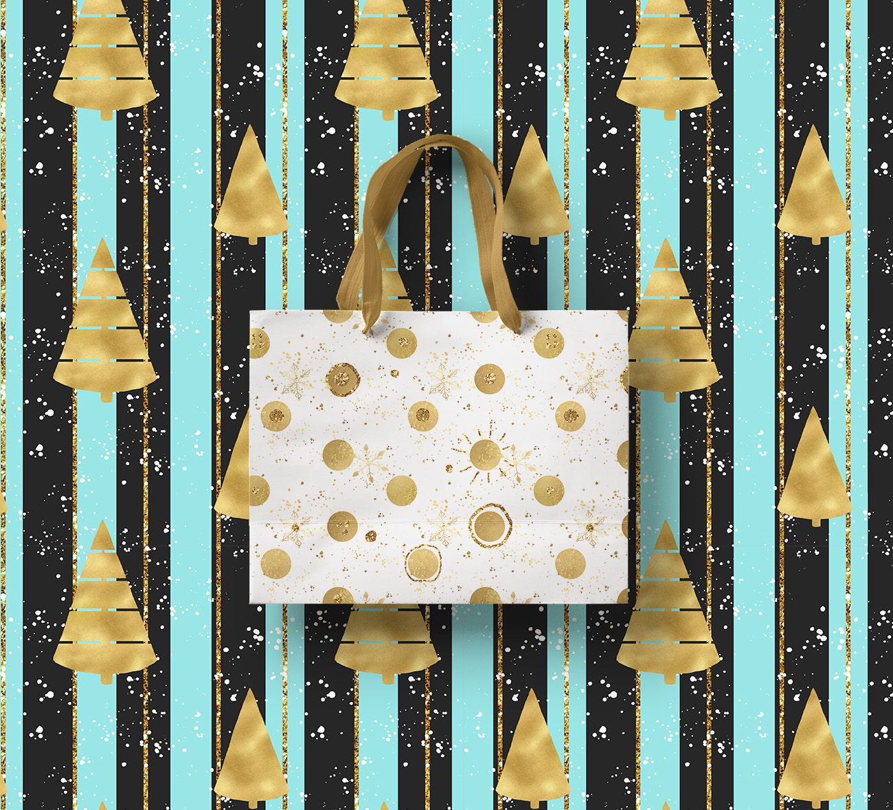 Christmas digital paper pack, seamless pattern snowflake example image 8