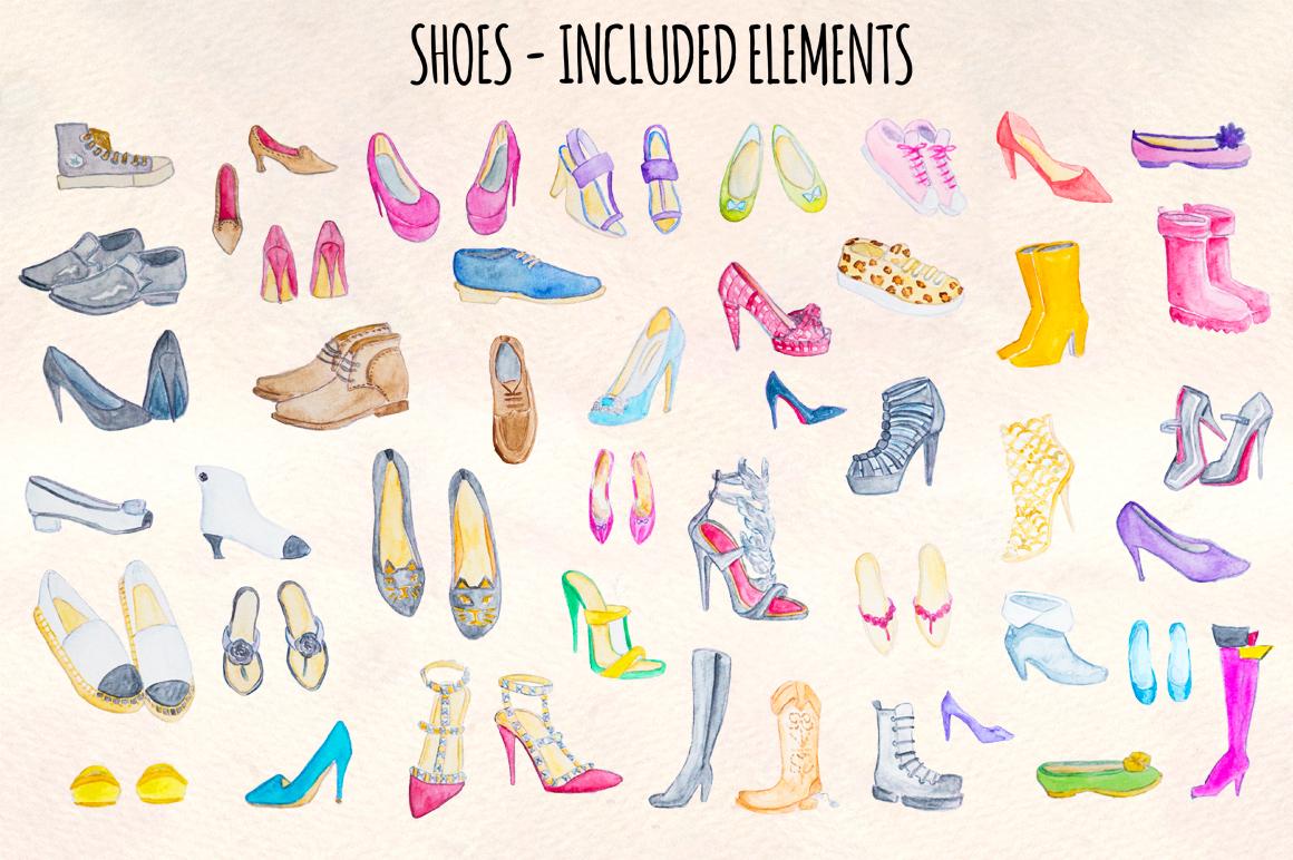 44 Heels, Sneakers and Ladies Shoes Watercolour Paintings example image 2