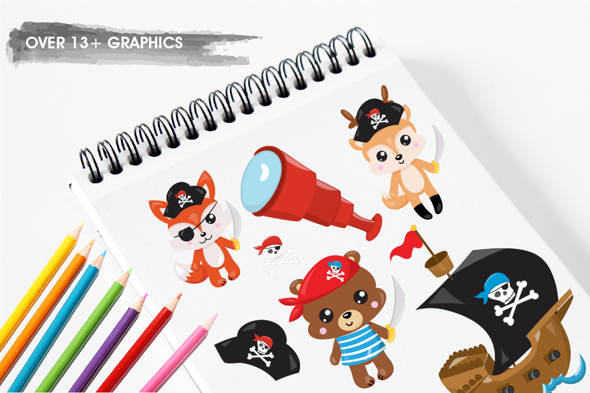 Pirates animals graphics and illustrations example image 5