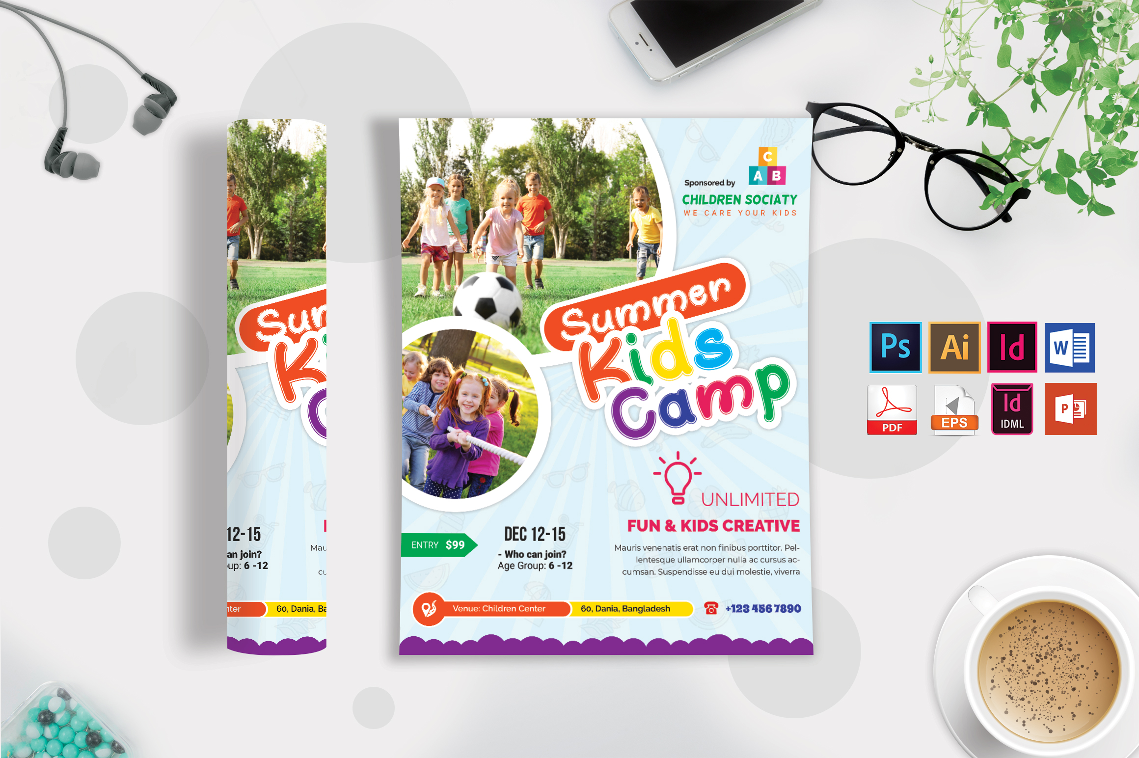 Kids Summer Camp Flyer Vol-10 example image 1