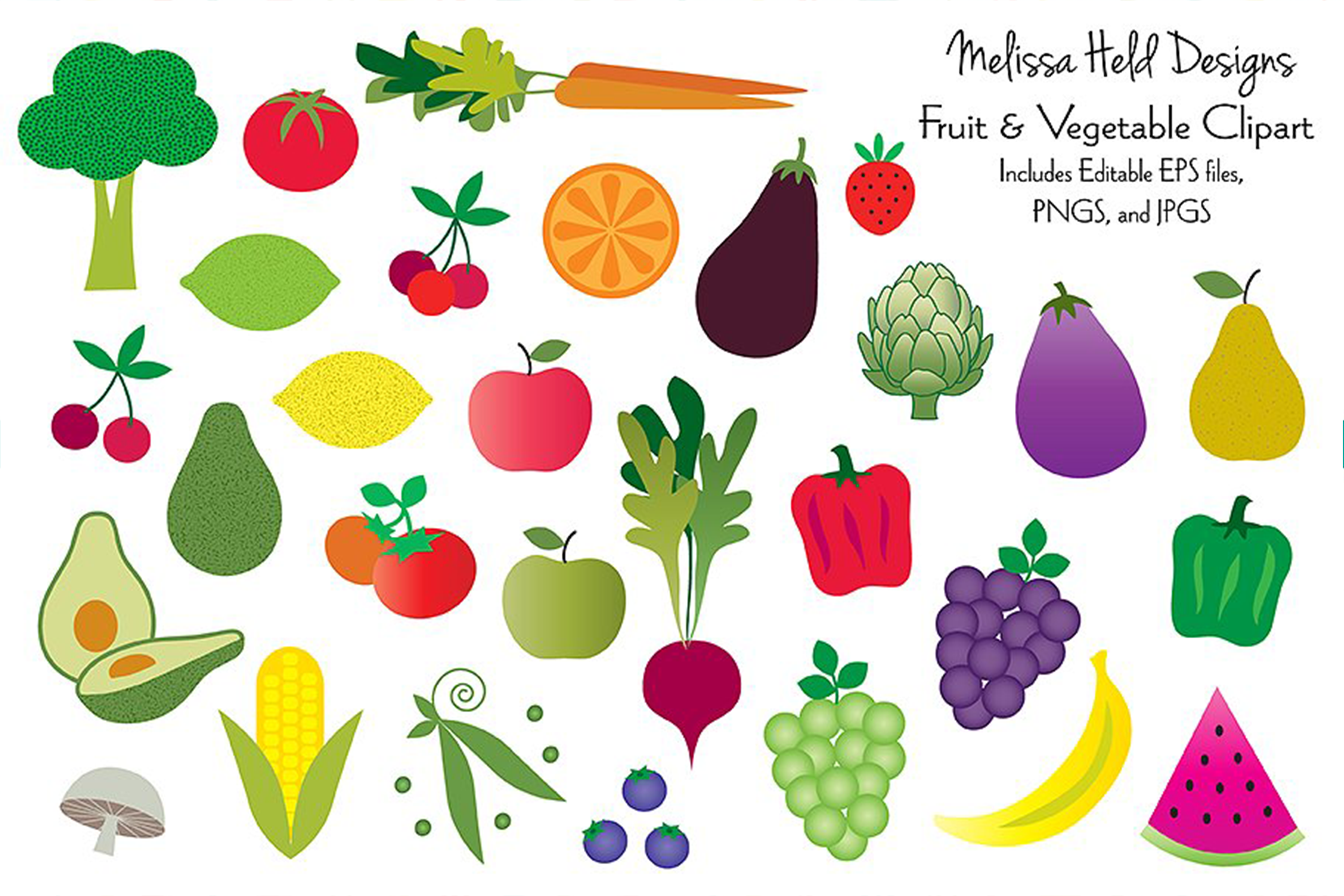 Fruits and Vegetables Clipart example image 1