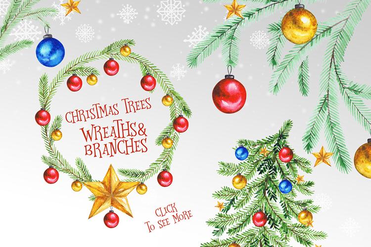 Christmas Watercolor Set example image 5
