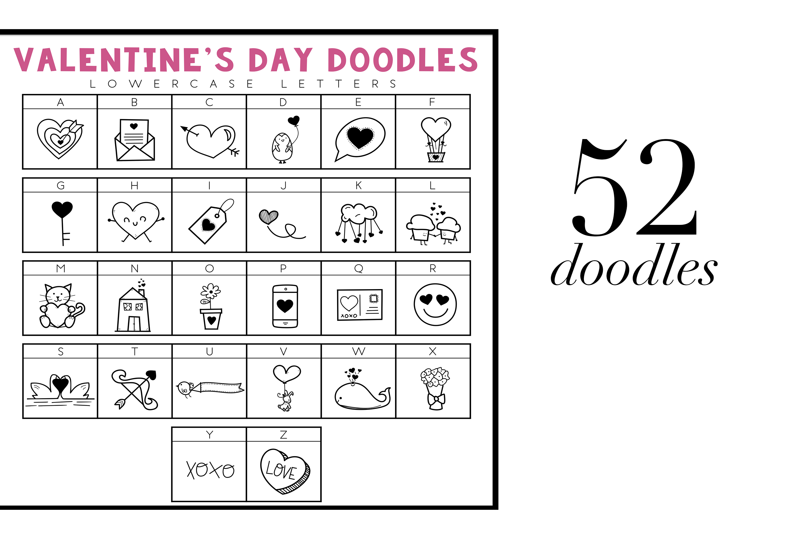 Valentine - Valentine's Day Doodle Font  example image 3