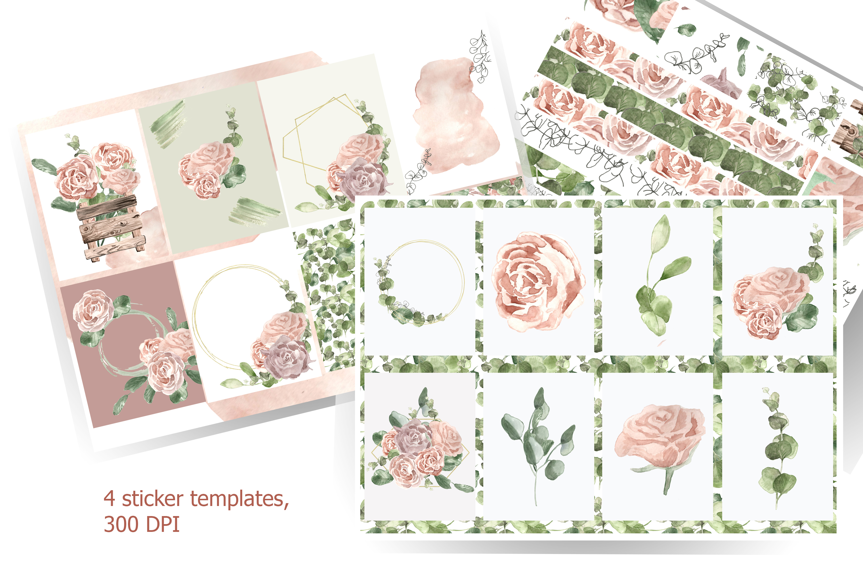 Template for printing labels in boho watercolor style example image 1