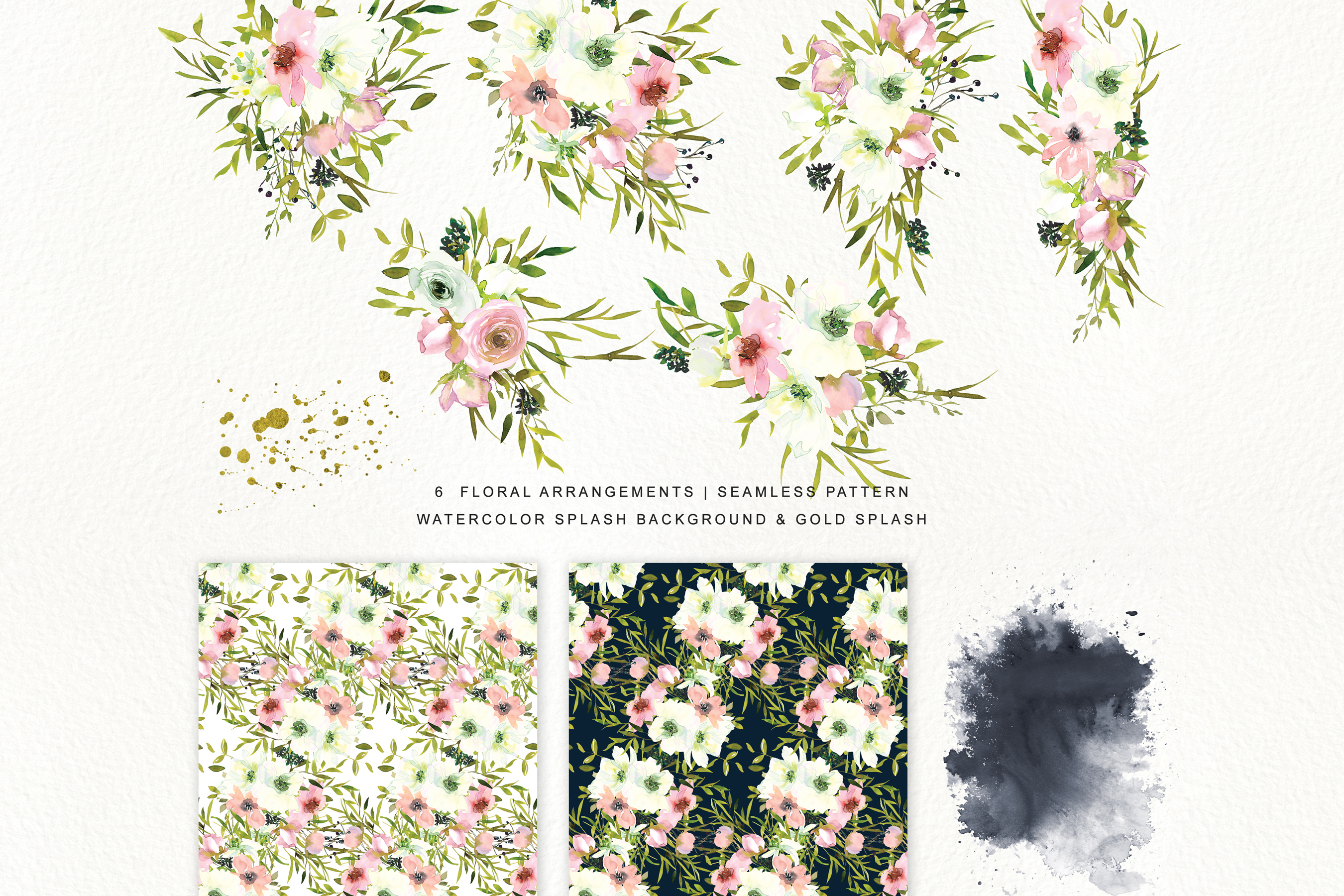 Watercolor Blush and White Florals Clipart Seamless Pattern example image 9