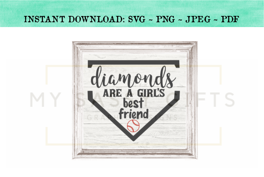 Diamonds Are A Girl's Best Friend Baseball SVG example image 2