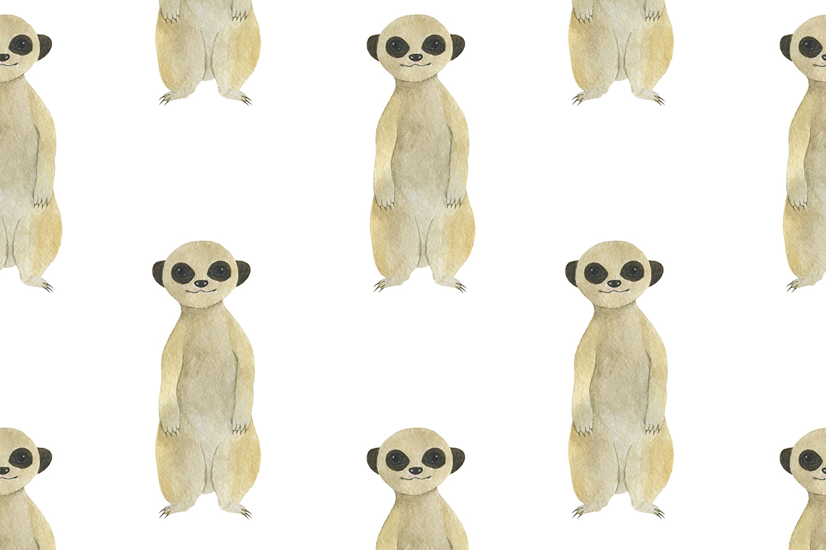 Set meerkats illustrations watercolor example image 10