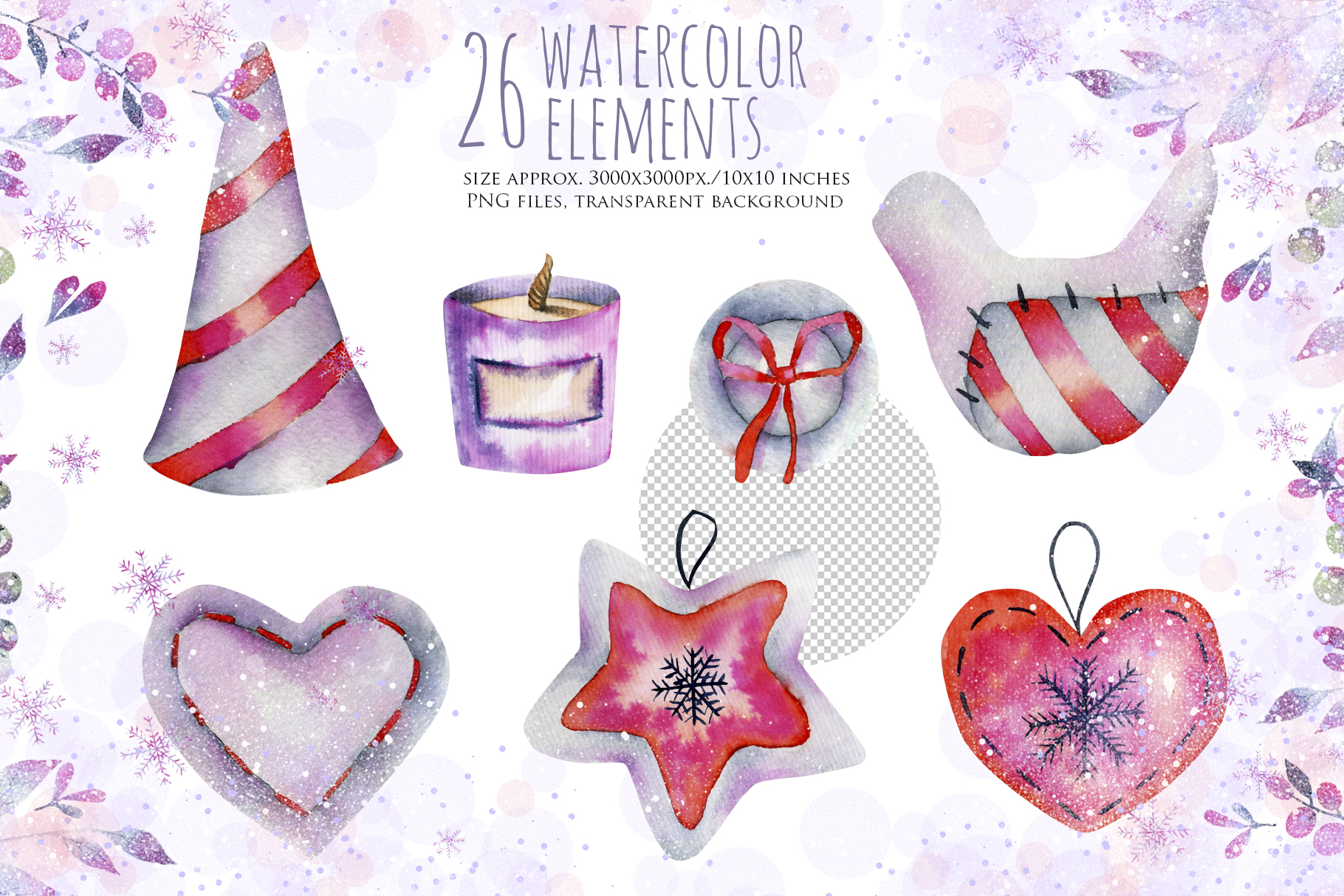 Let it snow. Watercolor Christmas clipart. example image 4