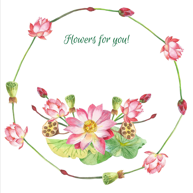 Lotus Flowers. Bouquets and Wreaths example image 4