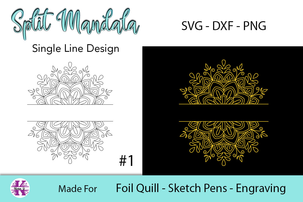 Split Mandala #1 for Foil Quill|Sketch Pen|Engraving example image 2