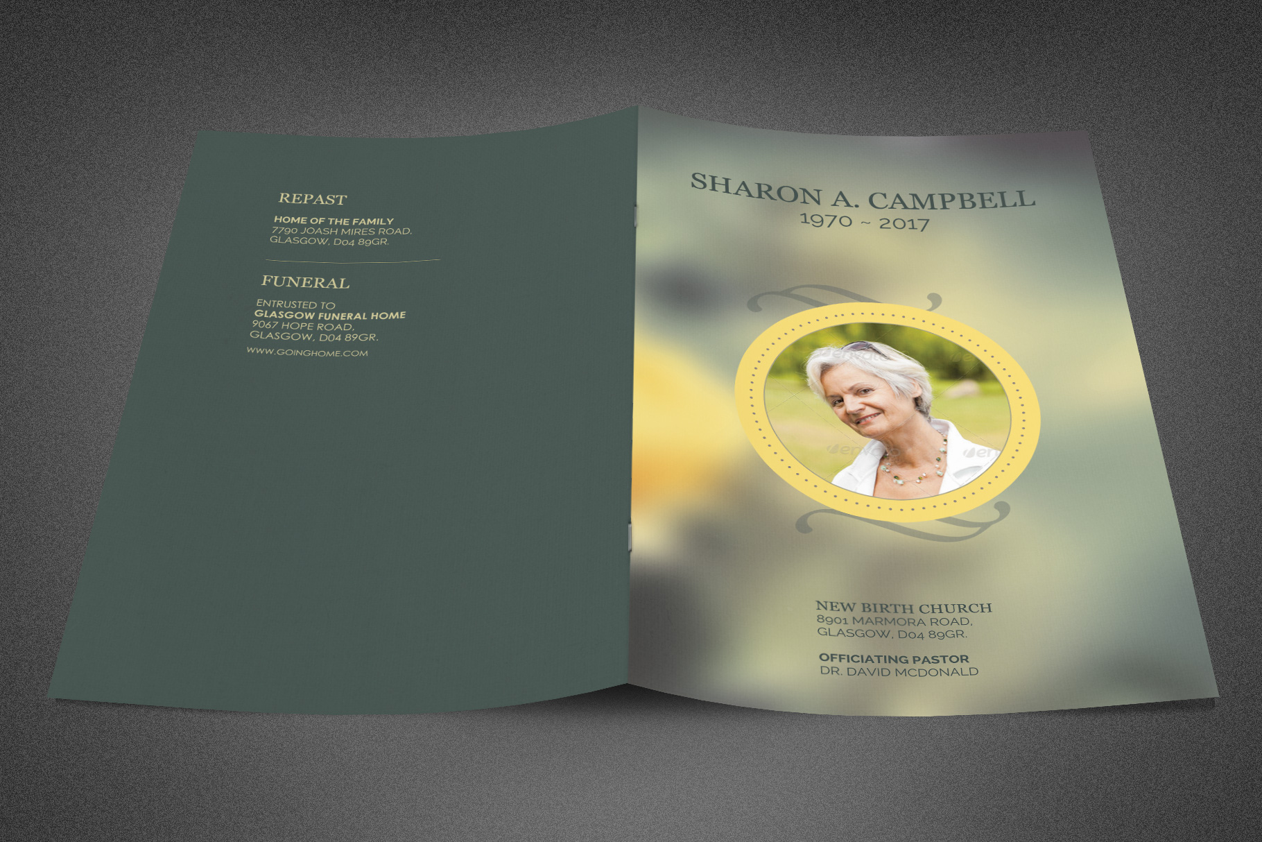 Refresh Funeral Program Template example image 2