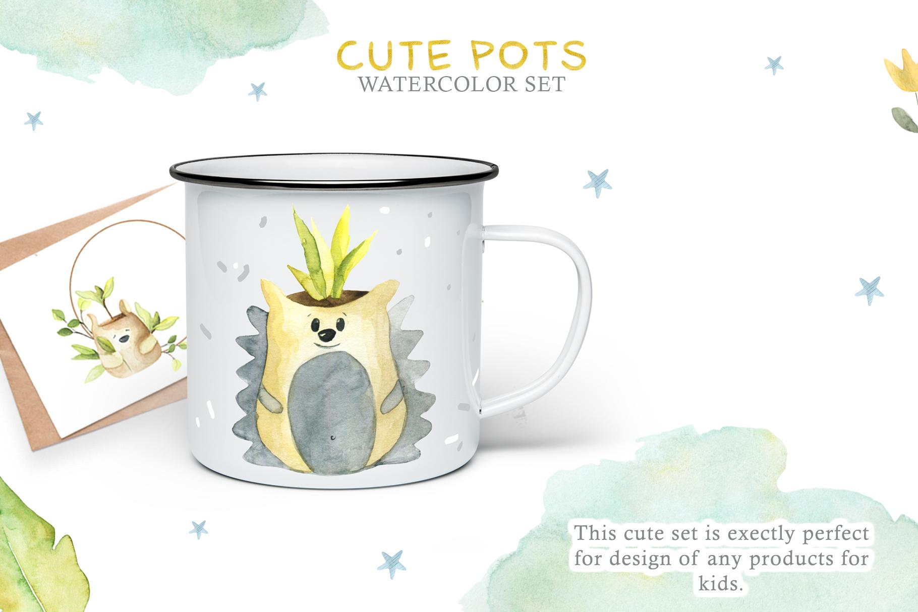 Watercolor Set Cute Pots example image 3