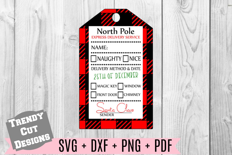 Christmas Gift Tag Buffalo Plaid SVG Print and Cut example image 1