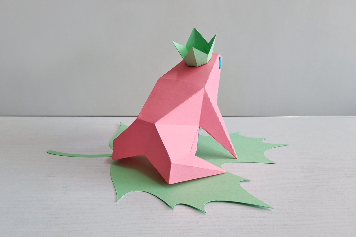 DIY Frog sitting on leaf,digital download,papercraft frog example image 4
