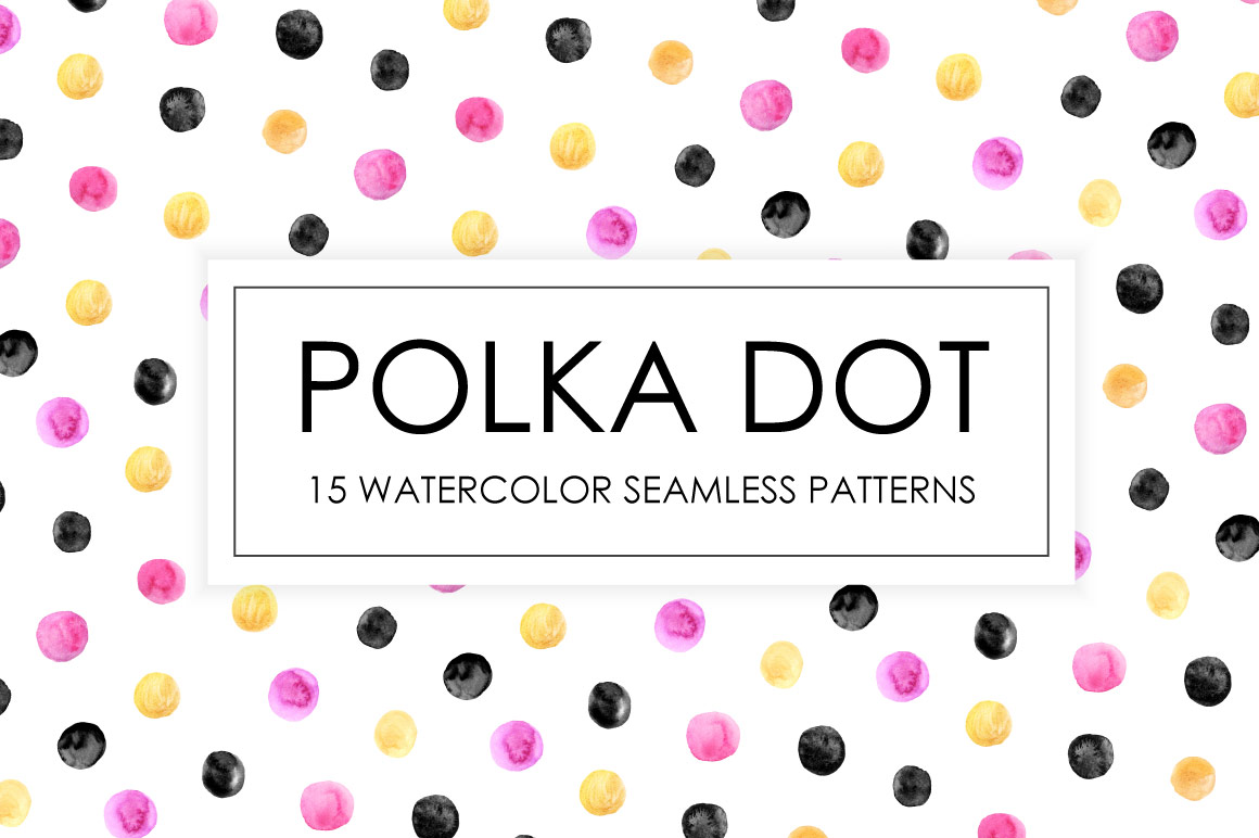 Watercolor Polka Dot Seamless Patterns example image 1