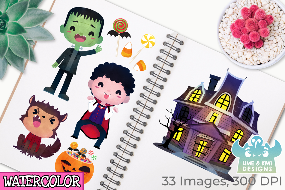 Halloween Trick Or Treaters Boys Watercolor Clipart example image 3